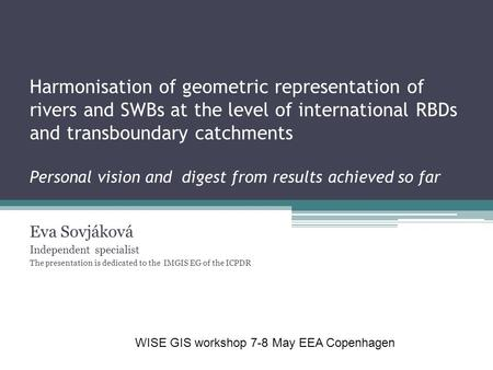 Harmonisation of geometric representation of rivers and SWBs at the level of international RBDs and transboundary catchments Personal vision and digest.