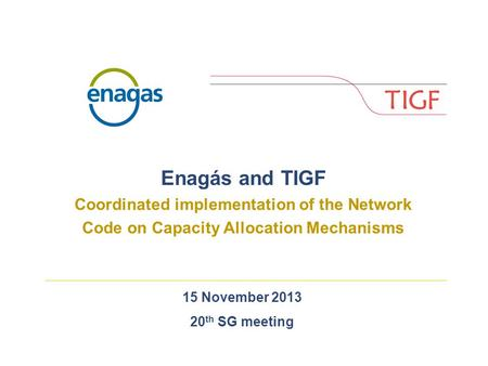 15 November 2013 20 th SG meeting Enagás and TIGF Coordinated implementation of the Network Code on Capacity Allocation Mechanisms.