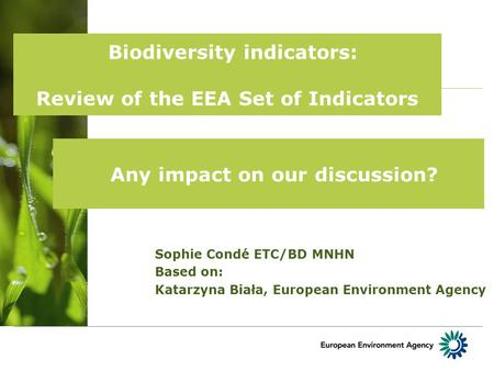 Biodiversity indicators: Review of the EEA Set of Indicators Sophie Condé ETC/BD MNHN Based on: Katarzyna Biała, European Environment Agency Any impact.