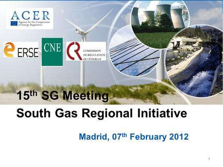 1 Madrid, 07 th February 2012 15 th SG Meeting South Gas Regional Initiative.