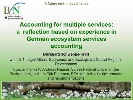 A future task in good hands Accounting for multiple services: a reflection based on experience in German ecosystem services accounting Burkhard Schweppe-Kraft.