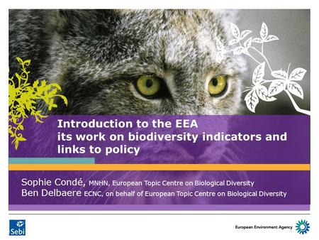 Introduction to the EEA its work on biodiversity indicators and links to policy Sophie Condé, MNHN, European Topic Centre on Biological Diversity Ben Delbaere.