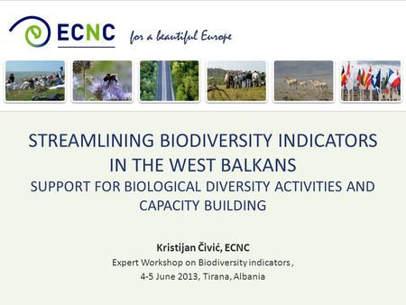 For a beautiful Europe Kristijan Čivić, ECNC Expert Workshop on Biodiversity indicators, 4-5 June 2013, Tirana, Albania STREAMLINING BIODIVERSITY INDICATORS.