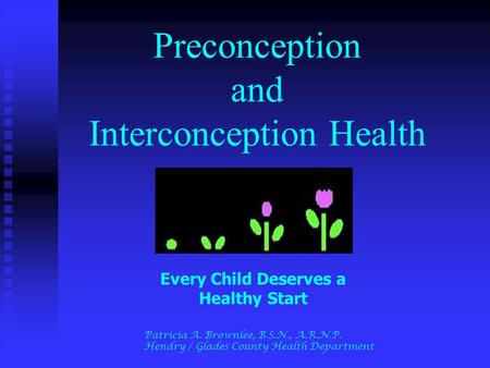 Preconception and Interconception Health Every Child Deserves a Healthy Start Patricia A. Brownlee, B.S.N., A.R.N.P. Hendry / Glades County Health Department.