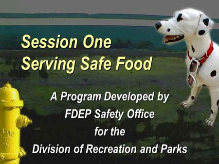 Session One Serving Safe Food A Program Developed by FDEP Safety Office for the Division of Recreation and Parks A Program Developed by FDEP Safety Office.