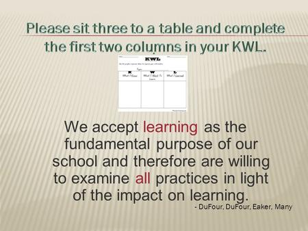 We accept learning as the fundamental purpose of our school and therefore are willing to examine all practices in light of the impact on learning.. - DuFour,