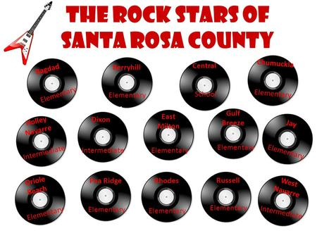 The Rock Stars of Santa Rosa County Bagdad Elementary School Elementary Intermediate Elementary Intermediate Berryhill Central Chumuckla Dixon East Milton.