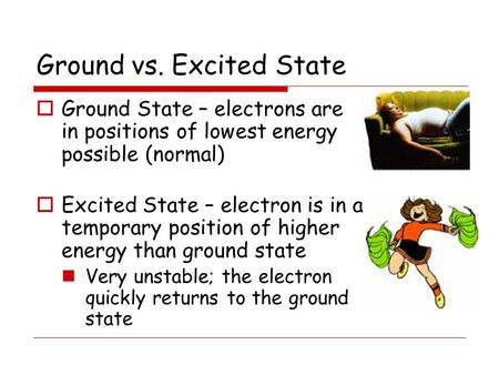 Ground vs. Excited State  Ground State – electrons are in positions of lowest energy possible (normal)  Excited State – electron is in a temporary position.