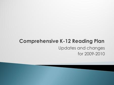 Updates and changes for 2009-2010.  Every district is required by the state to have an approved plan  Plan must address needs of all levels of students.