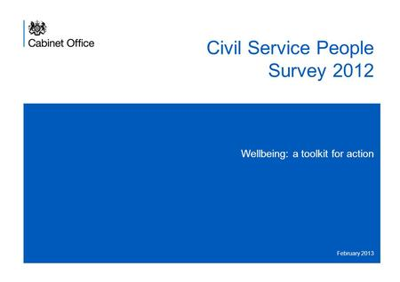 Civil Service People Survey 2012 Wellbeing: a toolkit for action February 2013.