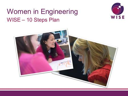 Women in Engineering WISE – 10 Steps Plan. Agenda Context for the 10 Steps Plan Where we are today What does this mean for you.