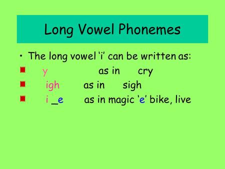 Long Vowel Phonemes The long vowel 'i' can be written as: y as in cry igh as in sigh i _e as in magic 'e' bike, live.