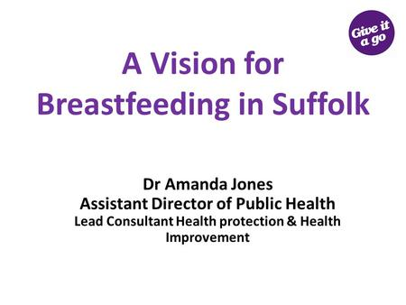 A Vision for Breastfeeding in Suffolk Dr Amanda Jones Assistant Director of Public Health Lead Consultant Health protection & Health Improvement.