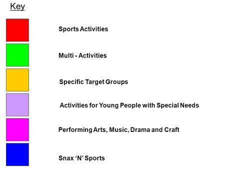 Key Sports Activities Activities for Young People with Special Needs Performing Arts, Music, Drama and Craft Snax 'N' Sports Multi - Activities Specific.