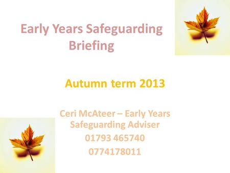 Early Years Safeguarding Briefing Autumn term 2013 Ceri McAteer – Early Years Safeguarding Adviser 01793 465740 0774178011.