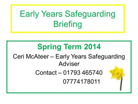 Early Years Safeguarding Briefing Spring Term 2014 Ceri McAteer – Early Years Safeguarding Adviser Contact – 01793 465740 07774178011.