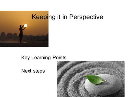 Keeping it in Perspective Key Learning Points Next steps.