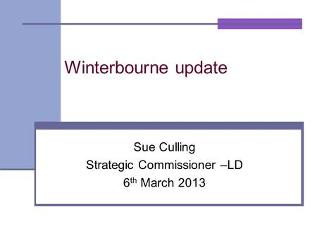 Winterbourne update Sue Culling Strategic Commissioner –LD 6 th March 2013.