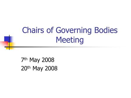 Chairs of Governing Bodies Meeting 7 th May 2008 20 th May 2008.