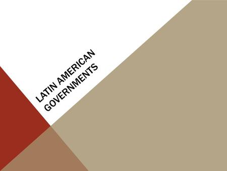 LATIN AMERICAN GOVERNMENTS. CountryMain Type of Gov'tForm of LeadershipRole of Citizen Brazil Mexico Cuba Venezuela.