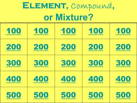 Element, Compound, or Mixture? 100 200 300 400 500.