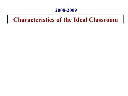 Characteristics of the Ideal Classroom 1.Fun and Meaningful Activities 2.No Busy Work 3.Manageable Assignments 4.Energy and Enthusiasm 5.Humor 6. Varied.