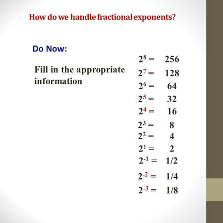 How do we handle fractional exponents? Do Now: 2 8 = 2 ? = 2 6 = 2 ? = 2 2 = 2 1 = 2 ? = 256 128 64 32 2 5 = 16 4 2 4 = 2 7 = 2 1/4 1/8 2 -2 = 2 -3 =