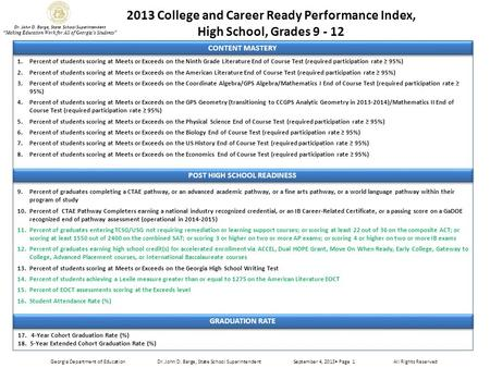 "2013 College and Career Ready Performance Index, High School, Grades 9 - 12 Dr. John D. Barge, State School Superintendent ""Making Education Work for All."