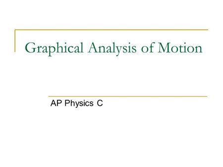 Graphical Analysis of Motion AP Physics C. Slope – A basic graph model A basic model for understanding graphs in physics is SLOPE. Using the model - Look.