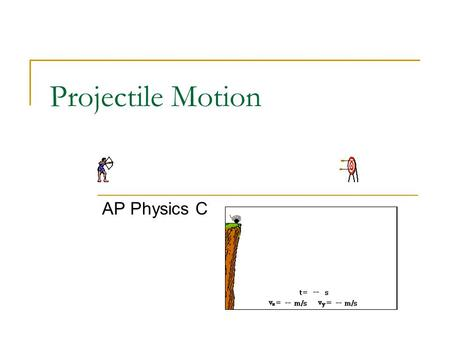 Projectile Motion AP Physics C. What is projectile? Projectile -Any object which projected by some means and continues to move due to its own inertia.