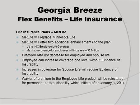 Georgia Breeze Flex Benefits – Life I nsurance Life Insurance Plans – MetLife  MetLife will replace Minnesota Life  MetLife will offer two additional.