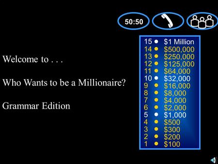 Welcome to... Who Wants to be a Millionaire? Grammar Edition 15 14 13 12 11 10 9 8 7 6 5 4 3 2 1 $1 Million $500,000 $250,000 $125,000 $64,000 $32,000.