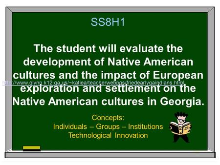 SS8H1 The student will evaluate the development of Native American cultures and the impact of European exploration and settlement on the Native American.
