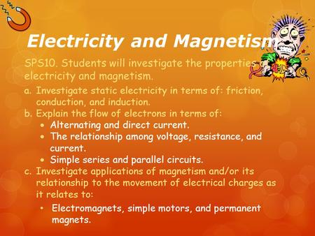 Electricity and Magnetism SPS10. Students will investigate the properties of electricity and magnetism. a.Investigate static electricity in terms of: friction,