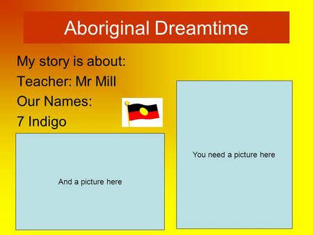 Aboriginal Dreamtime My story is about: Teacher: Mr Mill Our Names: 7 Indigo You need a picture here And a picture here.