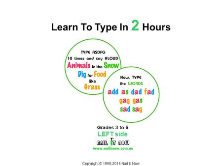 Copyright © 1998-2014 Nail It Now Learn To Type In 2 Hours Grades 3 to 6 LEFT side.