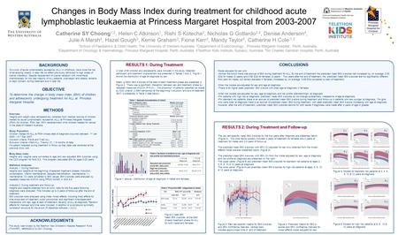 Changes in Body Mass Index during treatment for childhood acute lymphoblastic leukaemia at Princess Margaret Hospital from 2003-2007 Catherine SY Choong.