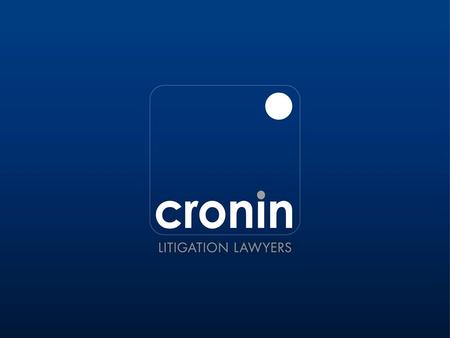 THE PERSONAL PROPERTY SECURITIES ACT 2009 BY DEREK CRONIN Partner Cronin Litigation Lawyers 6 October 2011.