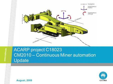 August, 2009 ACARP project C18023 CM2010 – Continuous Miner automation Update.