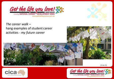 The career walk – hang examples of student career activities - my future career (Slide 23)