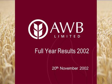 Full Year Results 2002 20 th November 2002. Overview Result highlights & achievements Financial performance Strategy & outlook.