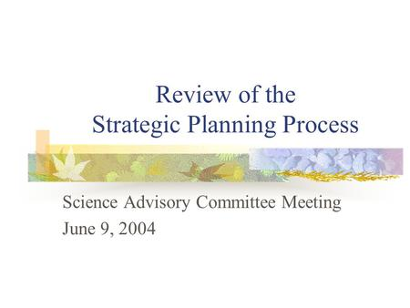Review of the Strategic Planning Process Science Advisory Committee Meeting June 9, 2004.