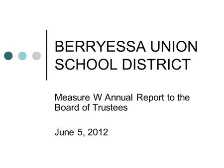 BERRYESSA UNION SCHOOL DISTRICT Measure W Annual Report to the Board of Trustees June 5, 2012.