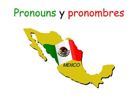 Pronouns y pronombres. 1. 1 st Person Singular 4. 1 st Person Plural 2. 2 nd Person Singular 5. 2 nd Person Plural 3. 3 rd person Singular 6. 3 rd Person.