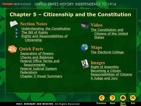 Chapter 5 – Citizenship and the Constitution Section Notes Understanding the Constitution The Bill of Rights Rights and Responsibilities of Citizenship.