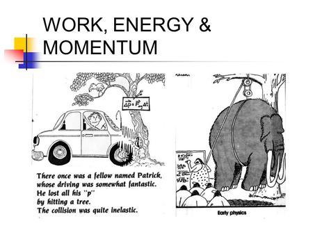 WORK, ENERGY & MOMENTUM.