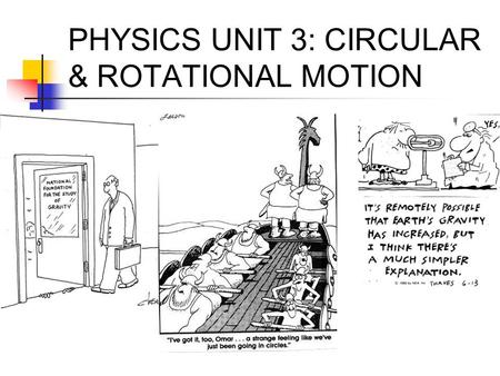 PHYSICS UNIT 3: CIRCULAR & ROTATIONAL MOTION
