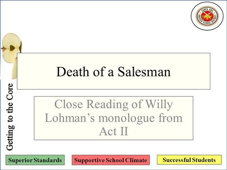 Successful Students Superior StandardsSupportive School Climate Death of a Salesman Close Reading of Willy Lohman's monologue from Act II.