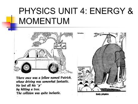 PHYSICS UNIT 4: ENERGY & MOMENTUM. WORK & KINETIC ENERGY Work, W: using a force, F, to displace an object a distance, d unit: Joule (1 J = 1 Nm) W = Fd.