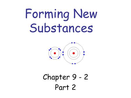 Forming New Substances Chapter 9 - 2 Part 2. Writing Formulas - Ionic Compounds The formula must have subscripts that cause the charges of the ions to.